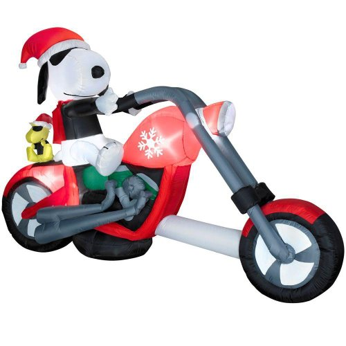 Christmas 7.5' Snoopy on Chopper Peanuts Airblown Inflatable Motorcycle