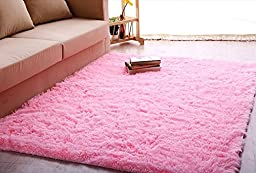 Ultra Soft 4.5 Cm Thick Indoor Morden Shaggy Area Rugs Pads, New Arrival Fashion Color [Bedroom] [Livingroom] [Sitting-room] [Rugs] [Blanket] [Footcloth] for Home Decorate. Size: 2.5 Feet X 5 Feet(pink)