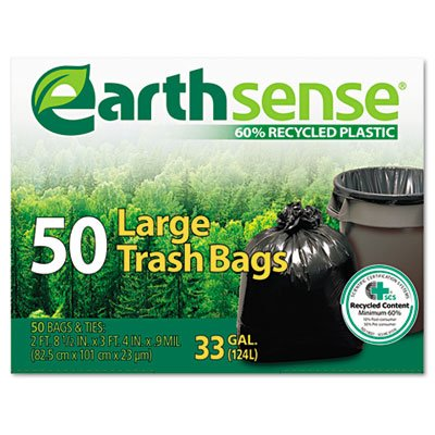 Earthsense Recycled Can Liners, 33 Gallons, Black, 50 Bags/Box (GES6TL50) (Recycled Cans compare prices)