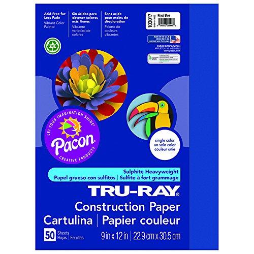 Pacon PAC103017BN Tru Ray Paper, 9 X 12, Dark Blue, 50/PK, MultiPk 5 Packs/CT
