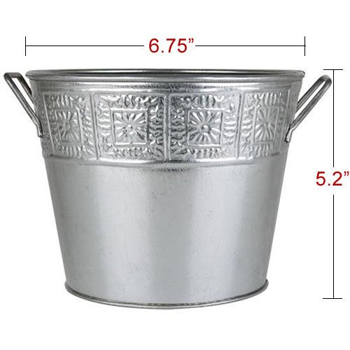 Galvanized Metal Plant Pot Buckets - Silver - One Piece (Metal Flower Pot compare prices)