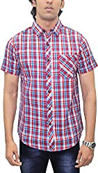 AA' Southbay Men's Maroon & Turquoise Twill Checks 100% Premium Cotton Half Sleeve Casual Shirt