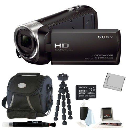 Sony Hdr-Cx240 Hdrcx240B Hdrcx240/B Full Hd Handycam Camcorder + Sony 16Gb Class 10 Micro Sdhc R40 Memory Card + Small Gadget Camera Bag + High Quality Npbx1 Rechargeable Battery + Accessory Kit