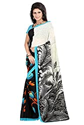 Pruthu Georgette Sari with Unstitched Blouse (plava_002)