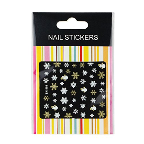 Kingfansion 1PC 3D Nail Art Stickers Decals Decorations Snowflake Snowman Design (Snowman Make Up)
