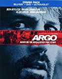 ARGO COMBO PACK [EXCLUSIVE BONUS CONTENT] (BLU-RAY + DVD + ULTRAVIOLET, 2013, Rated R)