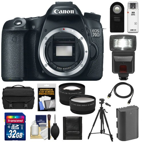 Canon Eos 70D Digital Slr Camera Body With 32Gb Card + Battery + Case + Tripod + Flash + Tele/Wide Lenses Kit