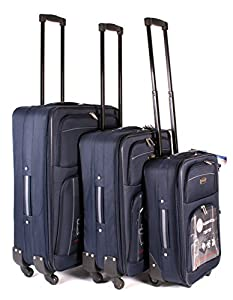 Navy Grey TC-FOUR-02 Travel Lite Luggage Set of 3 - Lightweight 4 Spinner Wheeled Blue Suitcase