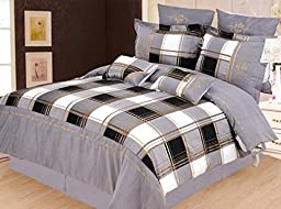 Madison 7-Piece Duvet Cover Set King-Grey by Impressions by Luxor Treasures