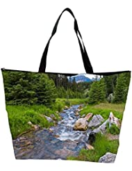 Snoogg Water Flowing Through The Garden Designer Waterproof Bag Made Of High Strength Nylon