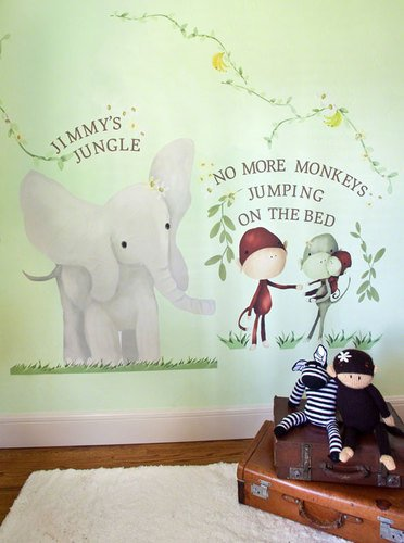 Oopsy Daisy Elephant & Monkey Peel And Place Wall Art, 54 By 60