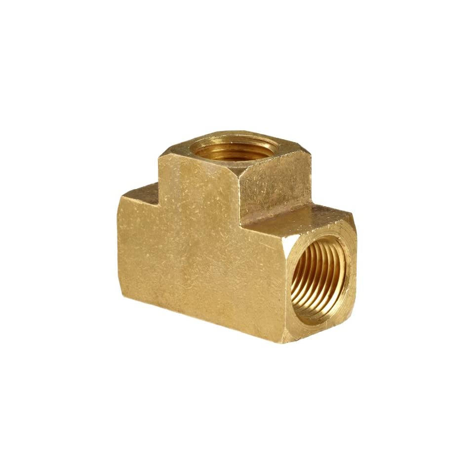 Anderson Metals Brass Pipe Fitting, Barstock Tee, 3/8 x 3/8 x 3/8 Female Pipe