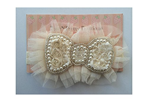 "5.5"" Chiffon Pearl Bows With Tulle Baby Poshnpretty Headband - Ivory"