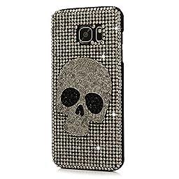 Samsung Galaxy S7 Edge Case, STENES Luxurious Crystal 3D Handmade Sparkle Diamond Rhinestone Clear Cover with Retro Bowknot Anti Dust Plug - Big Skull / Silver