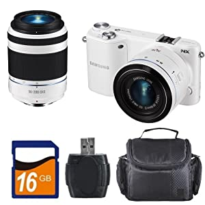 Samsung NX2000 20.3MP CMOS Smart WiFi Compact Interchangeable Lens Digital Camera with 20-50mm and 50-200mm Zoom Lens Bundle (White). Includes: 16GB Memory Card, High Speed Memory Card Reader & Carrying Case