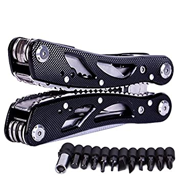 Multitools Folding Plier, Multipurpose Outdoor Survival Portable 13 In 1 Non Slip Pocket Multi Tool Set For Men With Pincers/Screwdriver Black