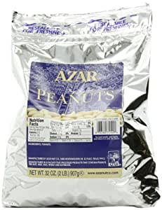 Azar Nut Company Peanuts, Dry Roasted, Unsalted, 32-Ounce Resealable Bags (Pack of 3)