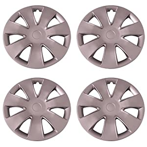 Set of 4 Silver 16 Inch Aftermarket Replacement Hubcaps with Clip Retention System – Part Number: IWC449/16S