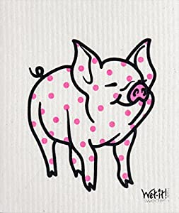Swedish Treasures Wet-It! Cleaning Cloth, Works Great in Kitchen, Bathroom or Any Room, Reusable & Biodegradable, Polka Pig