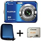 Fujifilm FinePix AX550 Blue + 8GB Memory Card and Case (16MP, 5x Optical Zoom) 2.7 inch LCD