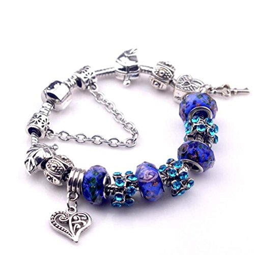 The Starry Night Deep Blue Crystal Beads Diamond Accented Hollow Heart and Lock Pendant Pandora Bracelet (Heartland Tv Show Merchandise compare prices)