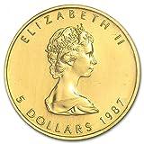 カナダ メイプルリーフ 5ドル金 ゴールド コイン 3.11グラム 1987年製造 24K 1/10オンス 純金 インゴット金貨 田中貴金属袋入り