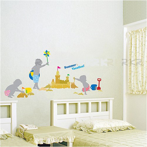 Nursery Easy Apply Wall Sticker Decorations - Beach Summer Vacation