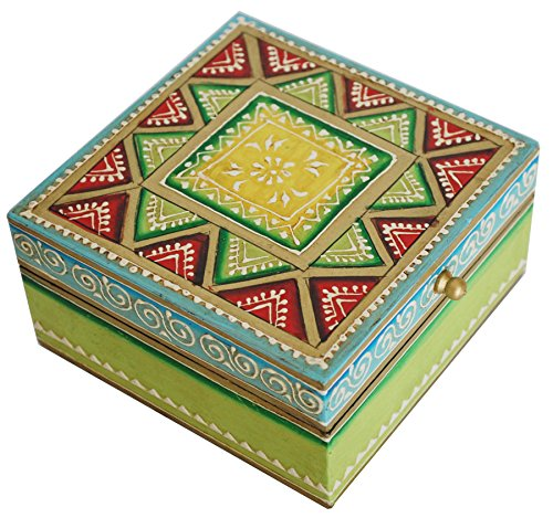 Best Deals Today - SouvNear Jewelry Box 5x5 Wooden Decorative Green Trinket Box Treasure Keepsake box **Rakhi Gift**
