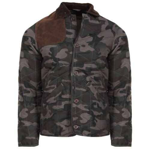 4B New Mens Khaki Camo Camoflage Print Quilted Winter Coat Button Up Cord Collar Faux Suede Shoulder and Elbows Fully Lined Fashion Size S