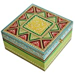 Wood Jewelry Box - Premium Quality Trinket / Keepsake Box with Cone Painting Art Green Wooden Decorative Box - Special Gifts for Her from India