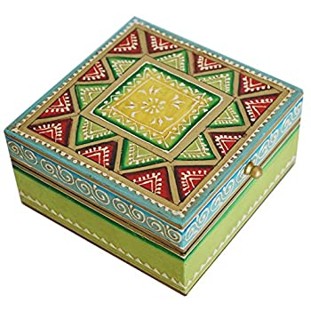 Keepsake Box with Cone Painting Art Green Wooden Decorative Box - Special Gifts for Her from India