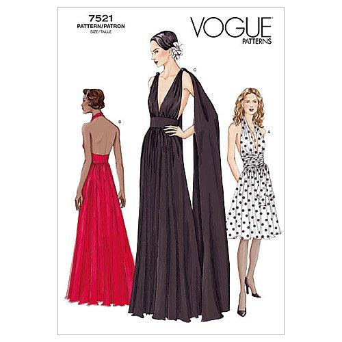 Vogue Patterns V7521 Misses' Lined Dress, Below Mid-Knee Or Floor-Length, Size 8-10-12