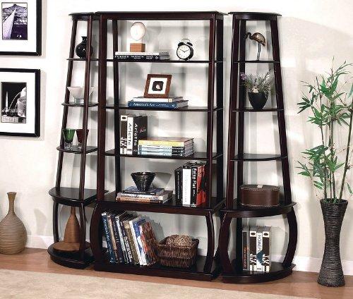 Unique Design Espresso Finish Five Shelves Bookcase Set