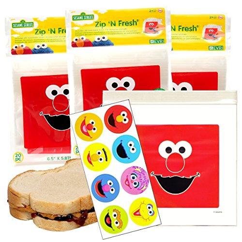 60ct Elmo Sesame Street Zip 'N Fresh Resealable Plastic Sandwich Bags With Stickers Food Saver Containers (Resealable Plastic Containers compare prices)