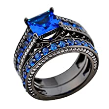 buy Jw Collection Modern Geometric Vintage Blue Sapphire Cz Ring Sets Bridal Promise Wedding Rings