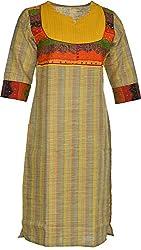 Artisan Women's Cotton Straight Kurta (CZF10018_XXL, XXL)