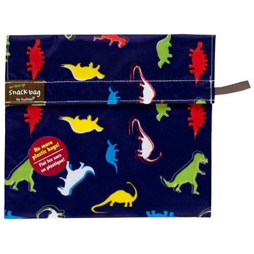 Kushies Baby Kushies On The Go Snack Bag, Dino Print, Large