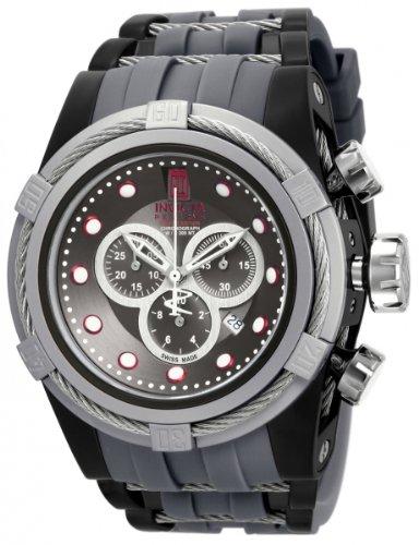 Invicta Jason Taylor Men's Quartz Watch with Black Dial  Chronograph display on Grey Plastic Strap 16665