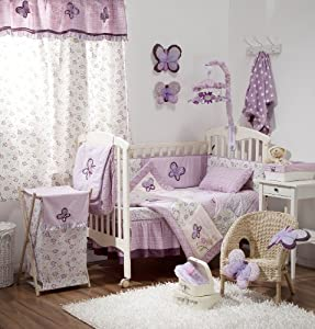 New Baby Girl 4 PC Bedding Set Butterfly Pink Purple Crib