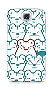 Amez designer printed 3d premium high quality back case cover for Samsung Galaxy S4 (Picture bear emotions blue red)