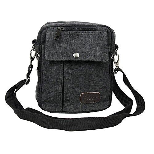 Neu Herren Damen Vintage Canvas Schultertasche Schultasche für Outdoor Canvas Leder Umhängetaschen Vintag Tasche Canvas Rucksack (Schwarz)