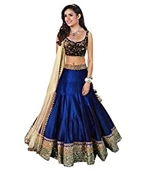A BEAUTY OF LEHENGA WITH BEAUTY NEVY BLUE COLOURED SPECIAL BANGLORY SILK SEMI STICHHED LEHENGA CHOILI