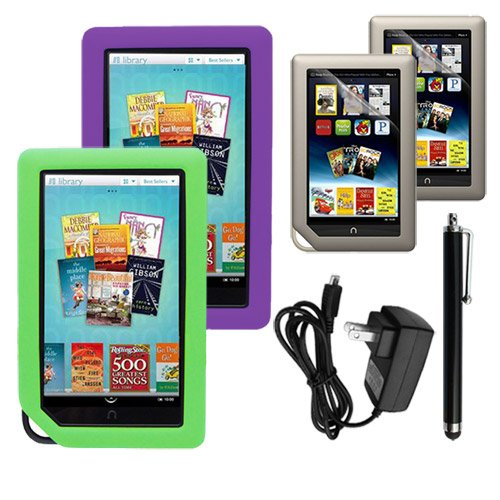 Skque 2 PACKS Clear Screen Protector + Purple and Green Soft Silicone Cover Case + Touch Screen Tablet/Smart Phone Stylus Pen(Black Body) + 2000Mah USB Wall Charger for Barnes&Noble Nook Color Ebook Reader