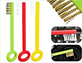 3 Pcs Key Shaped Multipurpose Cleaning Brush Set - For Kitchen Sink, Gas Burners, Computer Equipment and More (Assorted Colors)