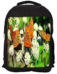 """Snoogg Multiple Butterflies In White Petals Casual Laptop Backpak Fits All 15 - 15.6"""" Inch Laptops"""