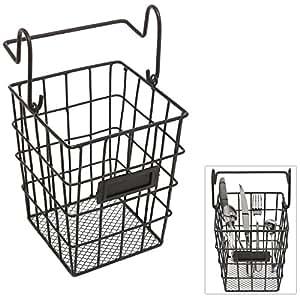 Modular black metal mesh wire hanging kitchen dining utensils storage basket for Hanging baskets for bathroom storage