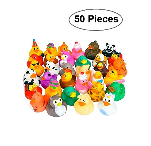 Rubber Ducks -50 Assorted Pieces-2 Inch - For Kids, Party Favors, Gift, Birthdays, Baby Showers, Baby Bath Toys, Bath Time, Party Favors, And More - Kidsco