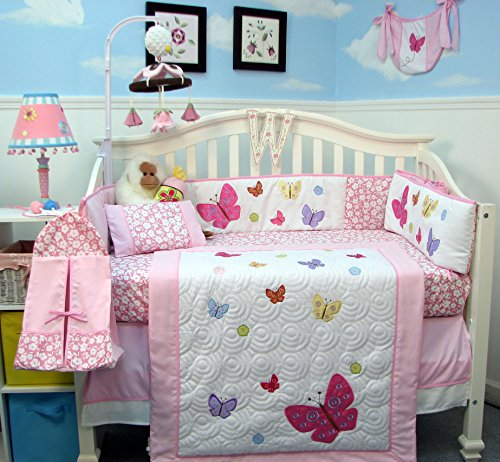 Soho Pink Dancing Butterflies Baby Crib Nursery Bedding Set 14 Pcs Included Diaper Bag With Changing Pad & Bottle Case