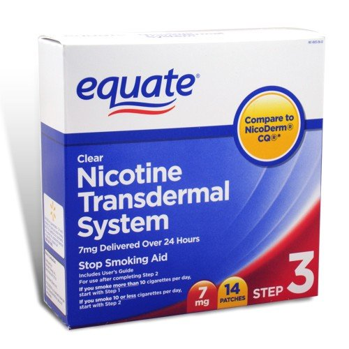 Equate – Step 3, Nicotine Transdermal System, Stop Smoking Aid, 7 mg, 14 Clear Patches