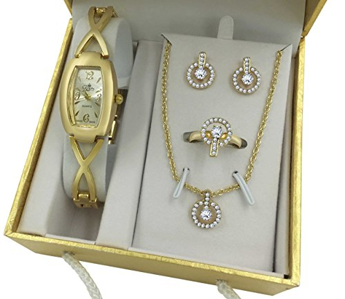 New! Gold Watch Jewelry Gift Set For Her Women Girlfriend Sister Wife Friend Anniversary ...